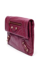 Balenciaga Giant Leather Envelope Clutch in Purple (burgundy) - Lyst