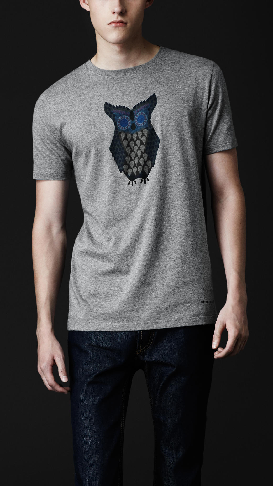 burberry prorsum owl graphic cotton t shirt in gray for. Black Bedroom Furniture Sets. Home Design Ideas