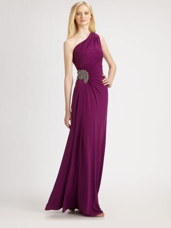David Meister Asymmetrical Gown - Lyst