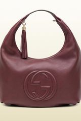 Gucci Soho Bordeaux Leather Hobo - Lyst