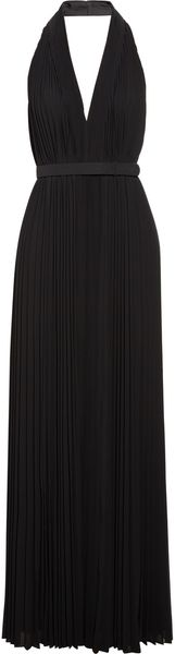 Halston Heritage Pleated Chiffon Halter Neck Gown in Black