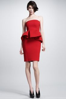 Lanvin Strapless Peplum Dress - Lyst
