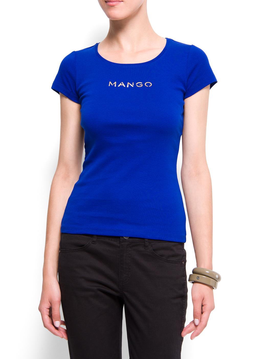 Mango Logo Cotton T Shirt In Blue Lyst
