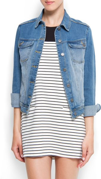 Mango Light Washed Denim Jacket in Blue (tm)