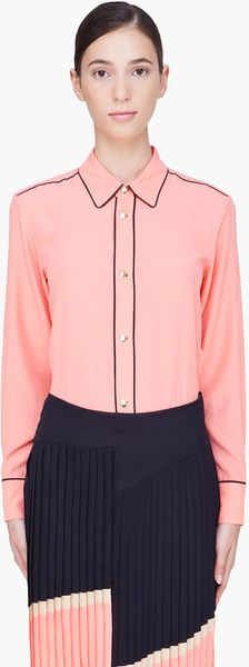Marni Peach Piped Shirt Tail Blouse - Lyst