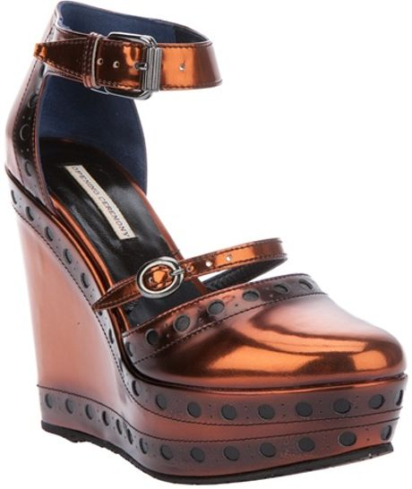 Opening Ceremony Olivia Wedge Sandal in Brown (copper) - Lyst