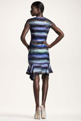 Peter Pilotto Striped Handkerchiefhem Dress in Multicolor (tiger purple) - Lyst