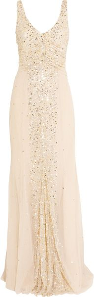 Rachel Gilbert Olivia Sequinembellished Tulle Gown in Beige (rose) - Lyst