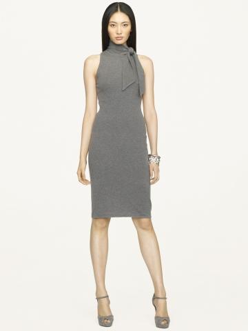 Ralph Lauren Black Label Tieneck Cashmere Dress In Gray