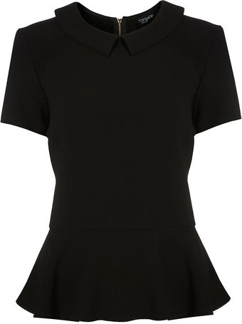 Topshop Structured Peplum Collar Top - Lyst