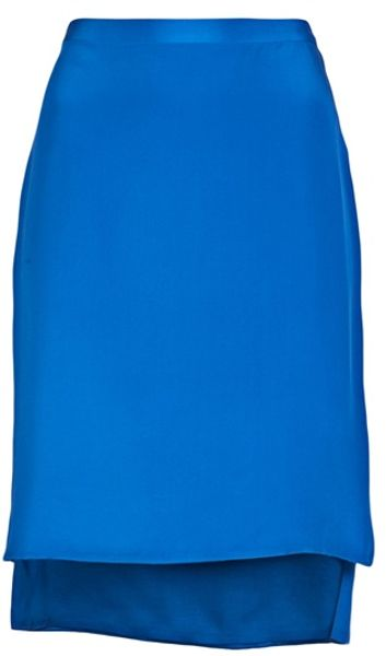 3.1 Phillip Lim Mid Length Skirt in Blue - Lyst