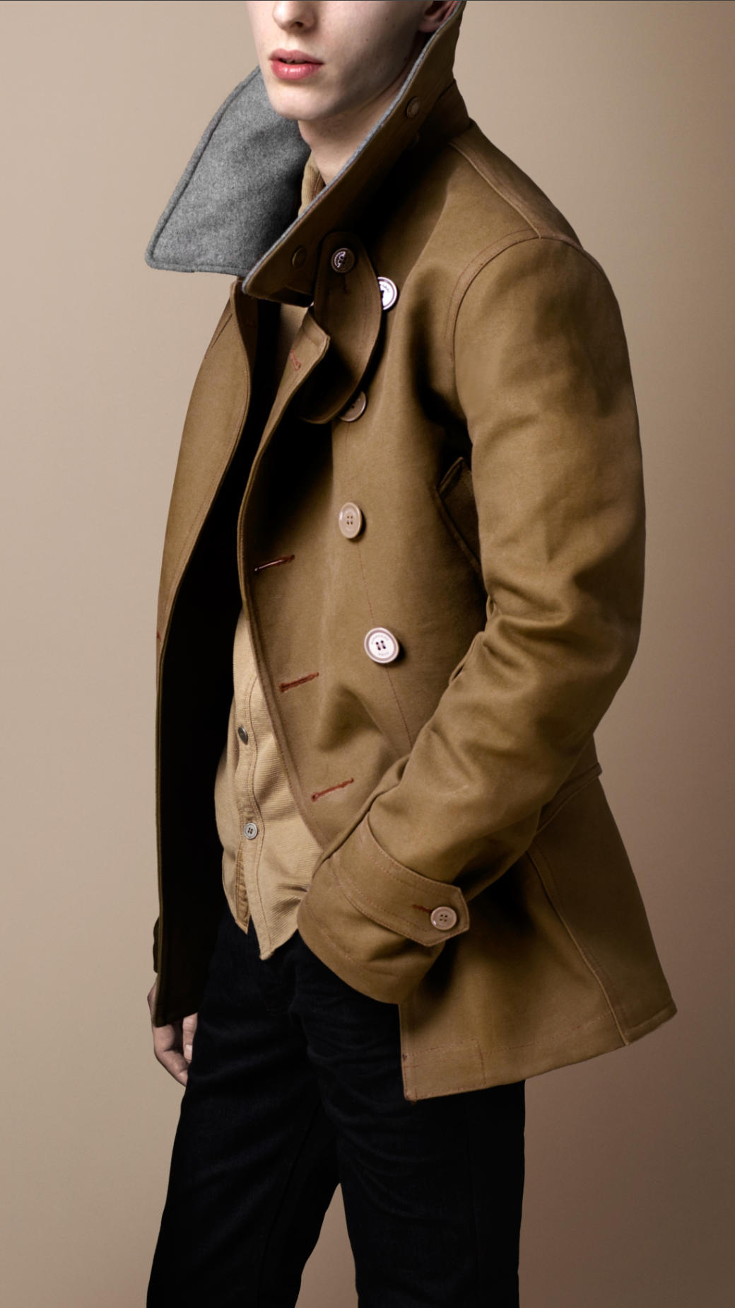 Burberry brit Bonded Canvas Pea Coat in Natural for Men | Lyst