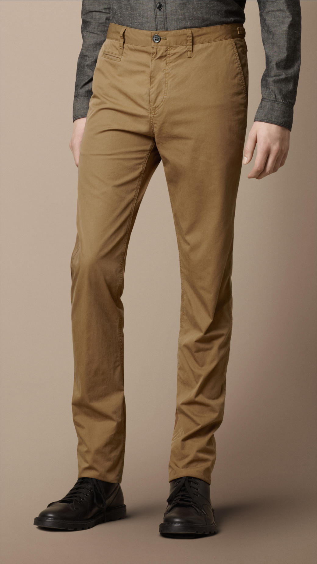 04c1440b89148 Lyst - Burberry Brit Workwear Cotton Chino Trousers in Brown for Men