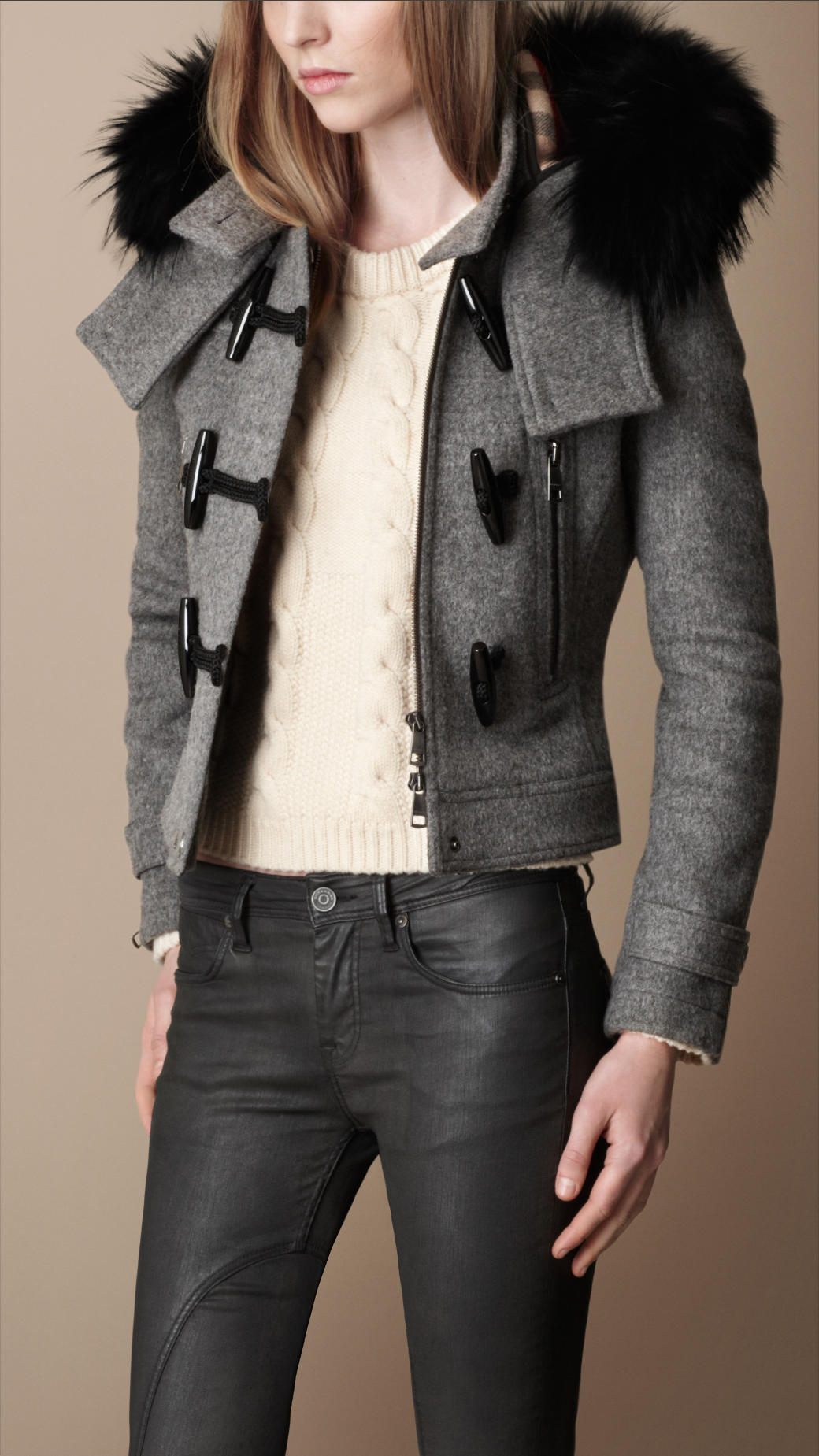 Burberry brit Fur Trim Cropped Duffle Coat in Gray | Lyst