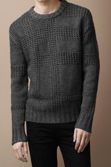 Burberry Brit Textured Check Merino Sweater - Lyst