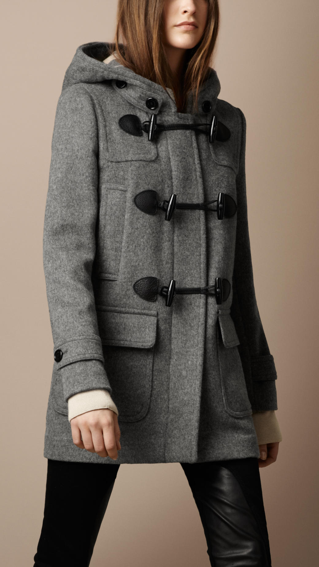 Burberry Brit Wool Duffle Coat in Gray - Lyst