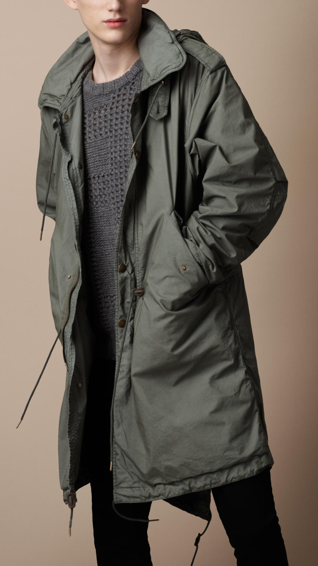 Burberry Brit Lightweight Packable Parka In Gray For Men