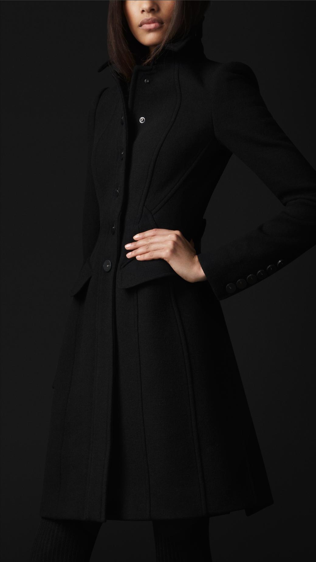 Burberry Prorsum Cr 234 Pe Wool Tailored Coat In Black Lyst