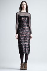 Burberry Prorsum Tinsel Illusion Dress in Pink (cherry) - Lyst