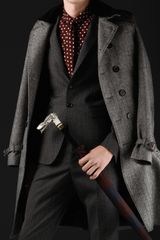 Burberry Prorsum Velvet Collar Herringbone Trench Coat - Lyst
