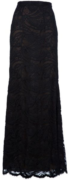 Emilio Pucci Lace Maxi Skirt in Black - Lyst