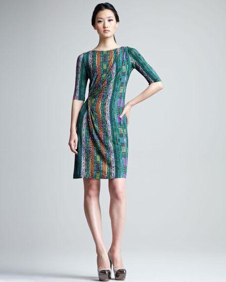 Etro Printed Half Sleeve Jersey Dress in Green