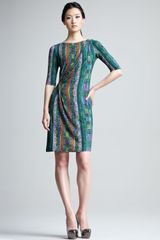 Etro Printed Half Sleeve Jersey Dress in Green - Lyst