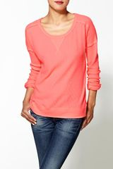 Free People Solid Washed Pullover in Red (hot coral) - Lyst