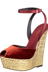 Giambattista Valli Velvet Embossed Metallic Wedge Sandal - Lyst