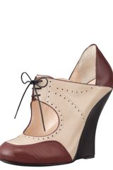 Giorgio Armani Laceup Oxford Wedge - Lyst