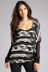 Improvd Grey and Black Printed Long Sleeve Boxy Top - Lyst