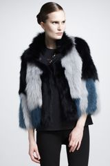 Lanvin Colorblock Fur Jacket - Lyst