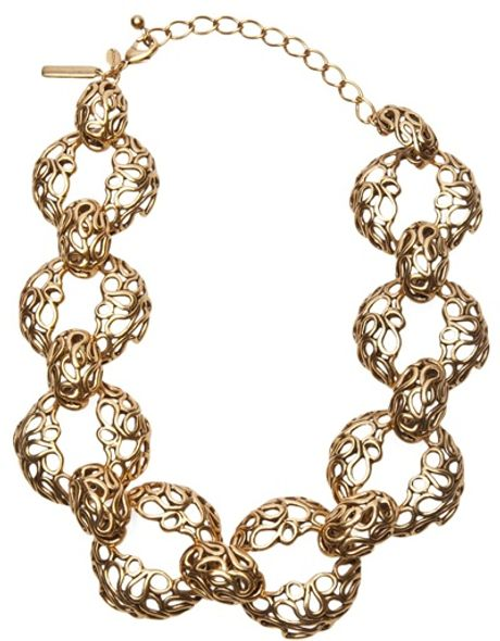Oscar De La Renta Filigree Links Necklace in Gold - Lyst