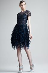 Oscar de la Renta Beaded Ruffled Dress - Lyst