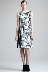 Oscar de la Renta Printed Silk Dress - Lyst