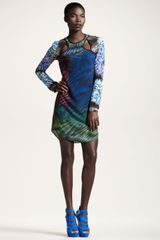 Peter Pilotto Mixedprint Cutout Dress - Lyst
