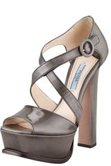 Prada Spazzolato Platform Criss Cross Pump in Gray - Lyst