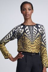 Roberto Cavalli Mixed print Top - Lyst