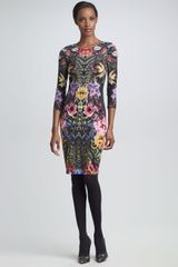 Roberto Cavalli Mixed-Print Sheath Dress - Lyst