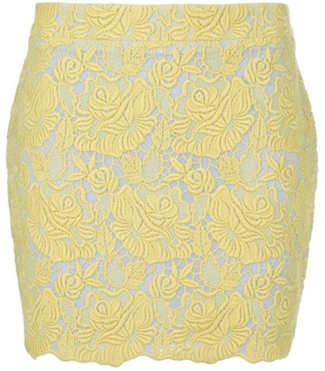 Stella Mccartney Lace Skirt in Yellow - Lyst