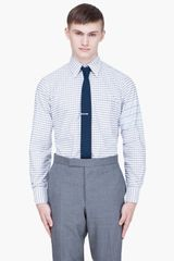 Thom Browne Grey Checkered Oxford Shirt - Lyst