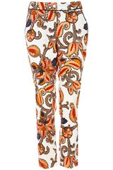 Topshop Paisley Print Cigarette Trousers in Multicolor (pink) - Lyst