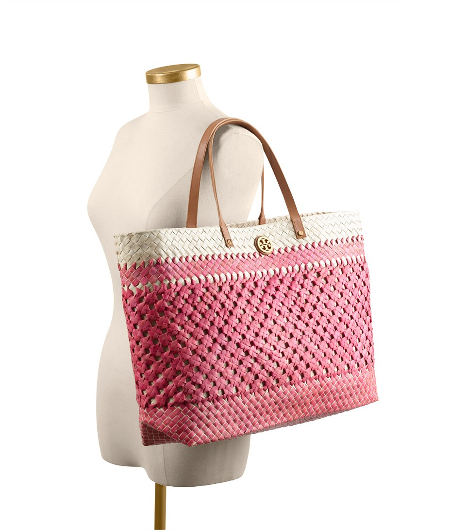 16dd6c47ad37 Lyst - Tory Burch Straw Large Square Tote in Red