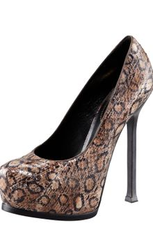 Yves Saint Laurent Tribtoo Snakeskin Pump - Lyst