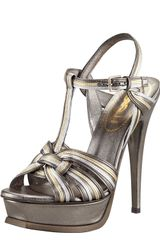 Yves Saint Laurent Metallic Tribute Sandal - Lyst