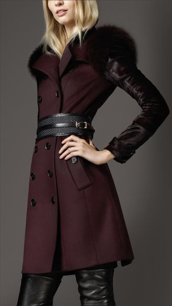 Burberry Mid-Length Fur Detail Wool Cashmere Trench Coat - Lyst