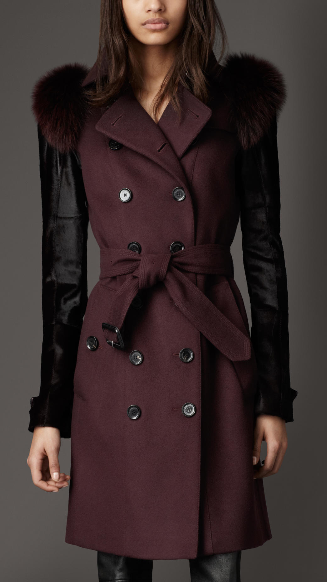 Burberry Mid Length Fur Detail Wool Cashmere Trench Coat