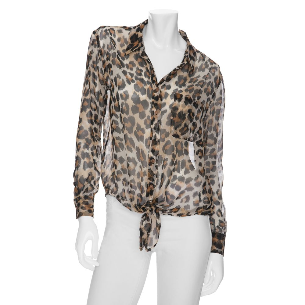 Lyst Equipment Daddy Tie Front Leopard Print Blouse