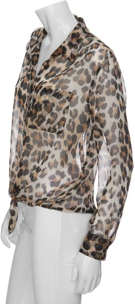 Equipment Daddy Tie Front Leopard Print Blouse In Animal
