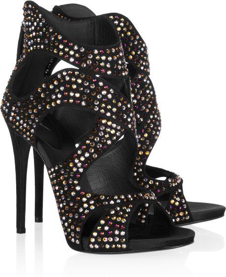 Giuseppe Zanotti Crystal Embellished Suede Sandals in Black - Lyst